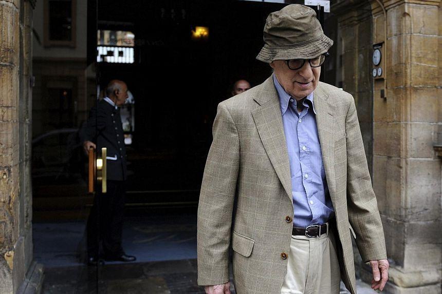 Director Woody Allen leaves Hotel de la Reconquista in Oviedo, northern Spain, on July 1, 2015.