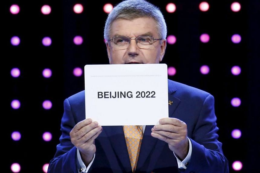President of the International Olympic Committee (IOC) Thomas Bach announces Beijing as the city to host the the 2022 Winter Olympics on July 31, 2015.
