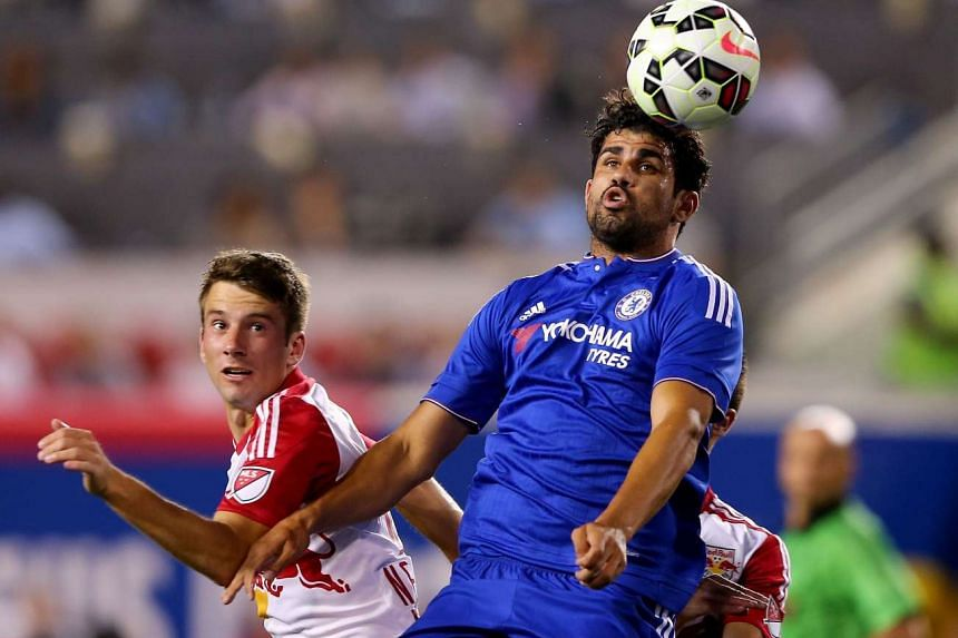 Diego Costa heads the ball during the International Champions Cup at Red Bull Arena on July 22, 2015.