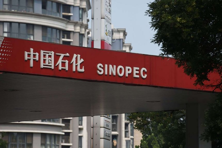 A Sinopec service station is seen in Beijing on July 8, 2015. PHOTO: AFP