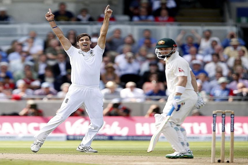Recalled England fast bowler Steven Finn, who took 6-79 in Australia's second innings, celebrates the dismissal of wicket-keeper Peter Nevill, who played a crucial innings of 59.