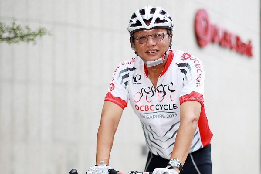 Mr George Lee, OCBC Bank's head of global corporate banking, cycles about 40km to 50km every weekend along a route that includes East Coast Park and Changi Coast Road.