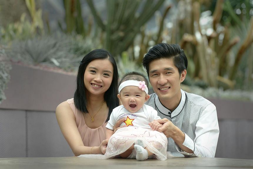 Jubilee Baby Chloe Tham and her parents at Gardens by the Bay on July 7, 2015.