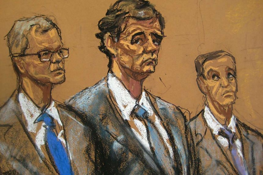 Defendant Alejandro Burzaco (centre) is seen flanked by defence attorneys in a courtroom sketch.