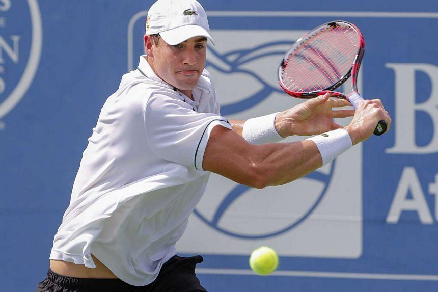John Isner during the BB&T Atlanta Open tennis tournament on July 31, 2015.