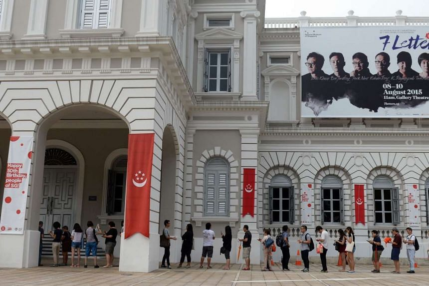 People queue for tickets to screenings of 7 Letters at the Gallery Theatre, National Museum of Singapore.