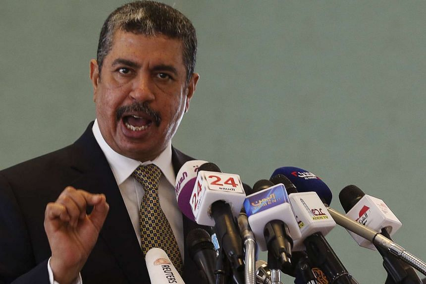 Yemeni Vice President Khaled Bahah speaks during a news conference in Riyadh on June 8, 2015.