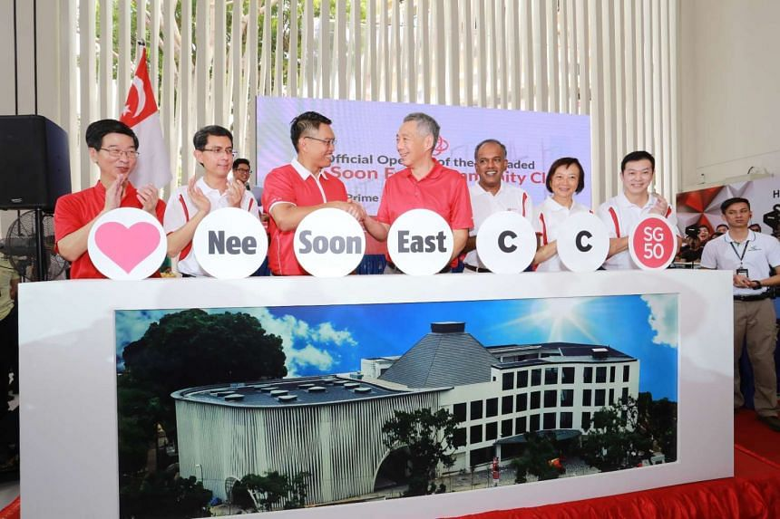 Prime Minister Lee Hsien Loong (centre) officially opened the Nee Soon East Community Club on Aug 1, 2015.