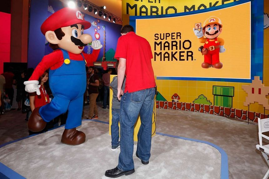 Super Mario performing at the Nintendo exhibit during the Annual Gaming Industry Conference E3.