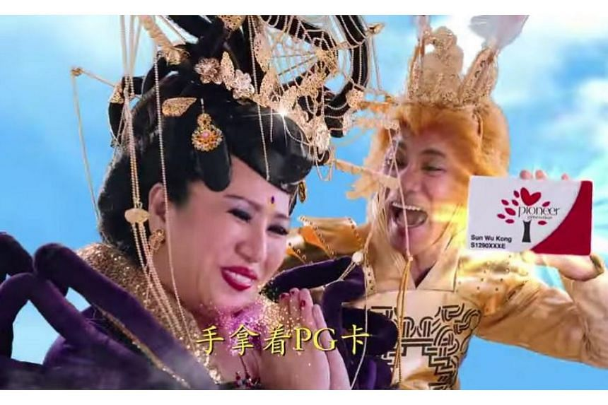The video, uploaded on YouTube and Facebook by gov.sg, features local getai artistes Wang Lei and Liu Ling Ling playing characters from the Chinese classic Journey To The West - the Monkey King and Spider Spirit, respectively.