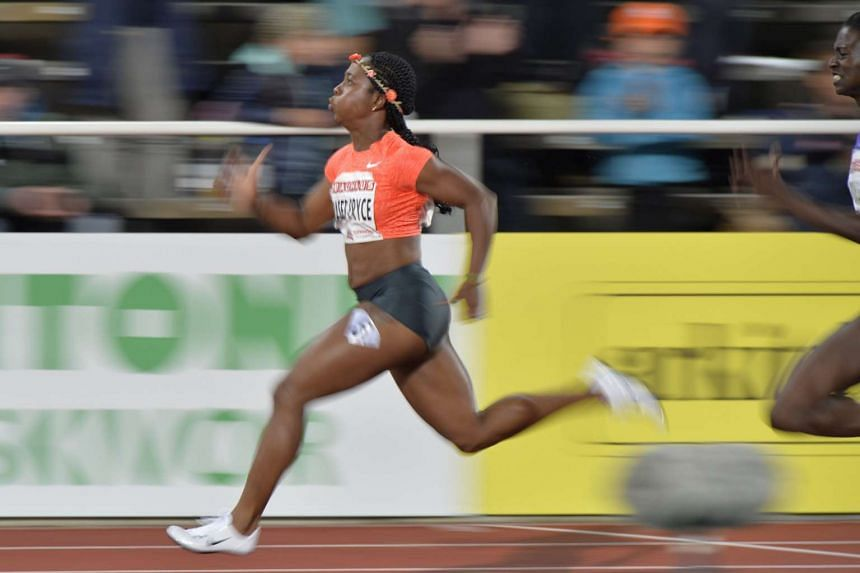 Shelly-Ann Fraser-Pryce competing to win the women's 100m race at Stockholm Olympic Stadium.