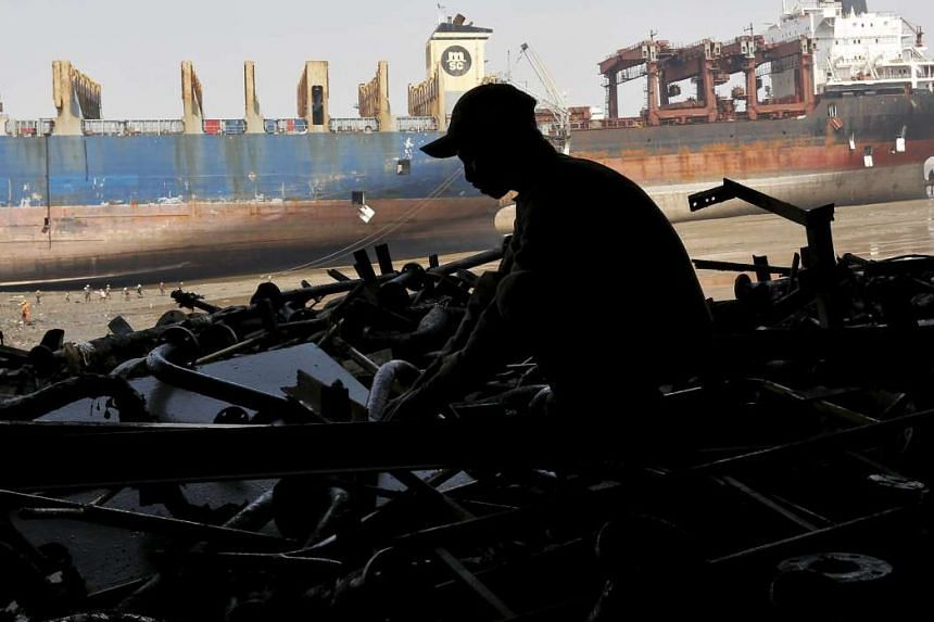 A ship-breaking yard in Alang, where the future of the industry now looks increasingly bleak.