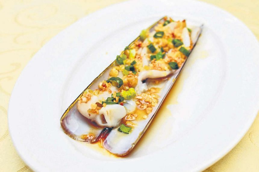 Steamed bamboo clams (above) at Jade Palace Seafood Restaurant.