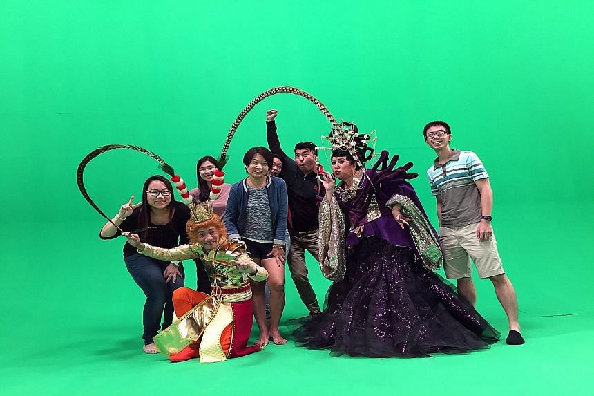 The crew of the Hokkien video, with director Royston Tan (third from right) and Mr Jeff Cheong (right), president of digital agency Tribal Worldwide. It has received more than 300,000 views on YouTube alone.