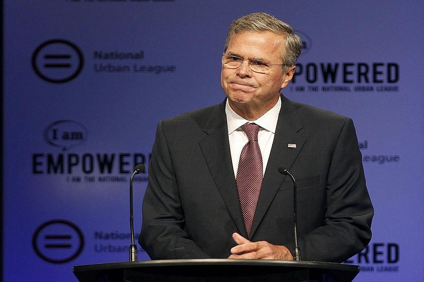 Mr Jeb Bush (above) seemed unprepared to respond to the speech made by Mrs Hillary Clinton (left), leaving her criticism unanswered in his own speech.