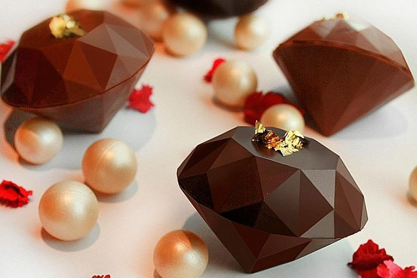 """Chocolate pralines, which come in 12 flavours such as Earl Grey, Lavender and Chocolate Banana ($2.20 each), are shaped like diamonds, a reference to the bistro's name, which means """"my jewel"""" in French."""