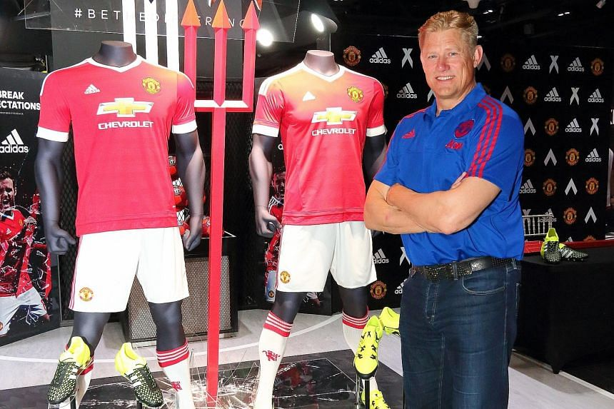 Left: Big stars who join Manchester United, such as Bastian Schweinsteiger, will find that reputation counts for little at Old Trafford, if they cannot perform, warns Peter Schmeichel. Below: Schmeichel at the launch of the club's new adidas kit at K