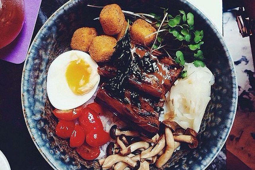 Miso eggplant rice bowl.