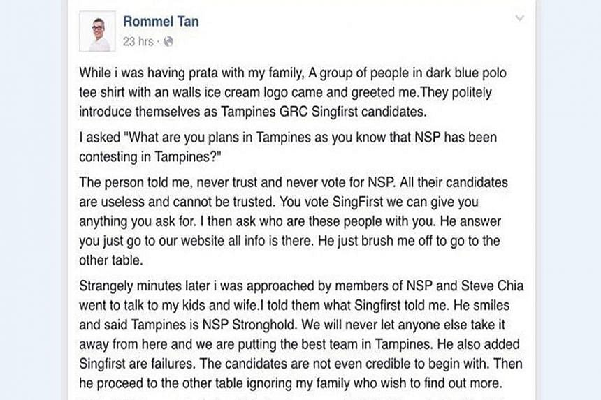 A Facebook user alleges that members of two political parties approached him in Tampines, and each slandered the other. A man from San Diego who tried to take a selfie with a rattlesnake ended up with a snake bite and a $210,000 medical bill. Mr Eric