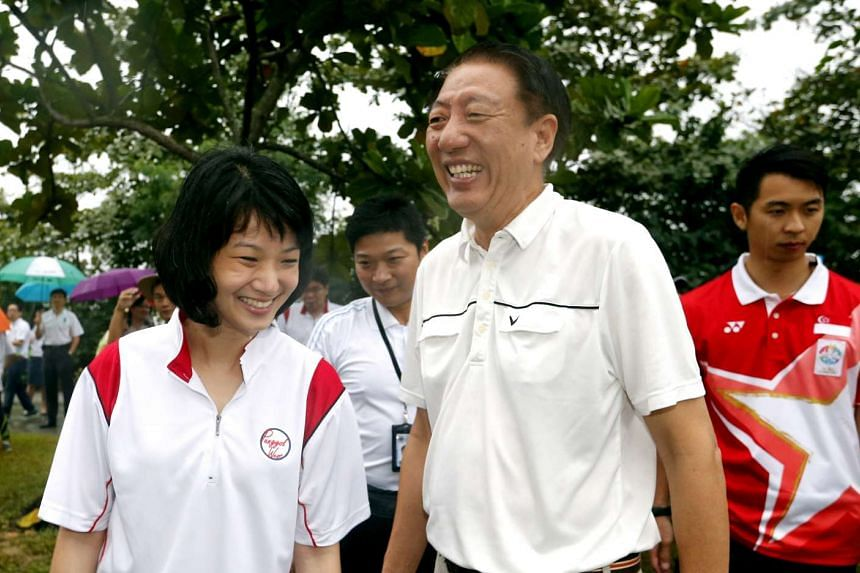 Deputy Prime Minister Teo Chee Hean (right) with Sun Xueling at Punggol Promenade, Punggol Point Walk on Aug 1, 2015. ST PHOTO: CHEW SENG KIM