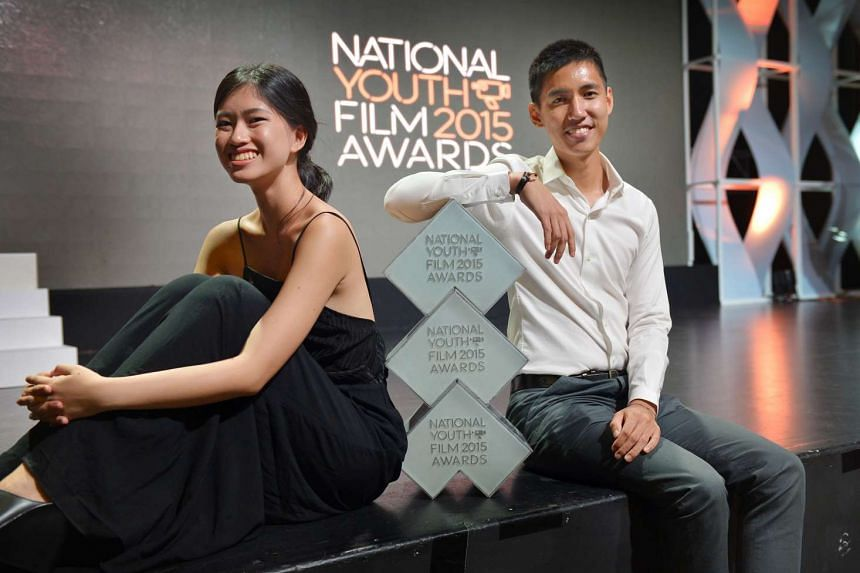 November, a 15-film directed by Mr Shane Lim (right) and which he co-wrote with Ms Angelica Ho (left) won the Best Picture, Best Screenplay and Best Direction awards at the inaugural National Youth Film Awards on Sunday, Aug 2, 2015.