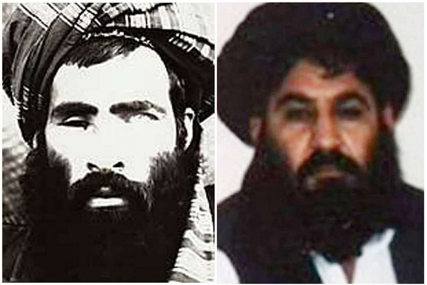 A combo photograph showing Afghan Taliban leader Mullah Omar (left), the leader of the Afghan Taliban, who died two years ago in Pakistan and Mullah Muhammad Akhtar Mansoor, the newly appointed leader of Afghan Talibans.