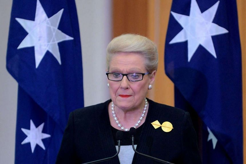 Australian Speaker of the House of Representatives Bronwyn Bishop during the signing of the MH17 condolence book at Parliament House in Canberra, Australia on July 24, 2014.