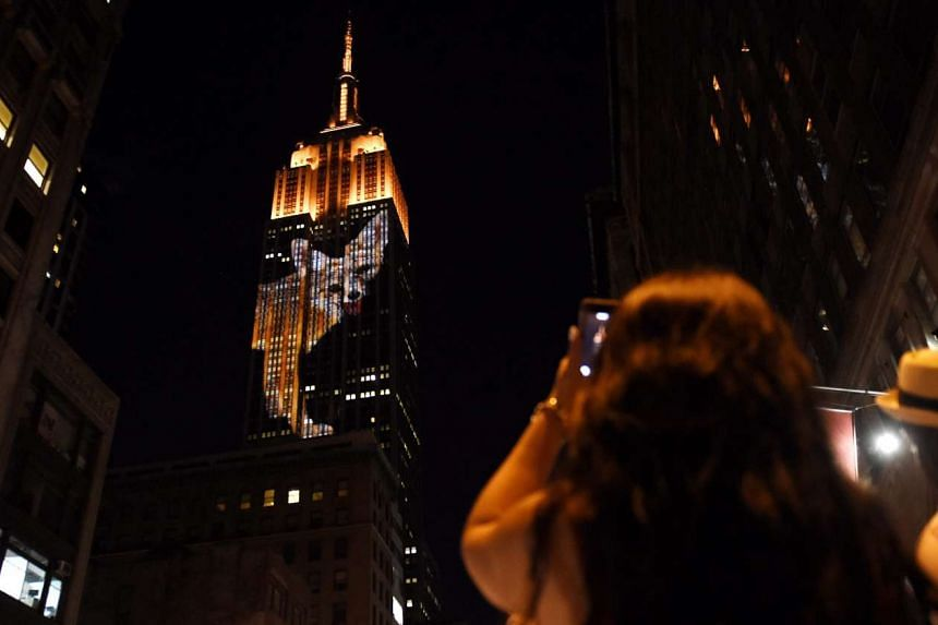 An image of an endangered species is projected on the side of the Empire State Building in New York, on Aug 1, 2015.