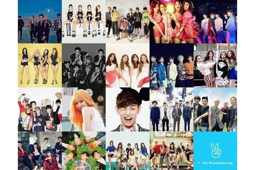 """South Korean groups Wonder Girls, 2PM, WINNER and Big Bang are among those featured in mobile app 'V""""."""