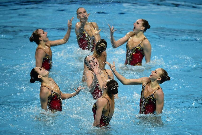 Team Russia performing its routine in the Team Free Combination final event during the synchronised swimming competition at the 2015 FINA World Championships in Kazan on Aug 1, 2015.