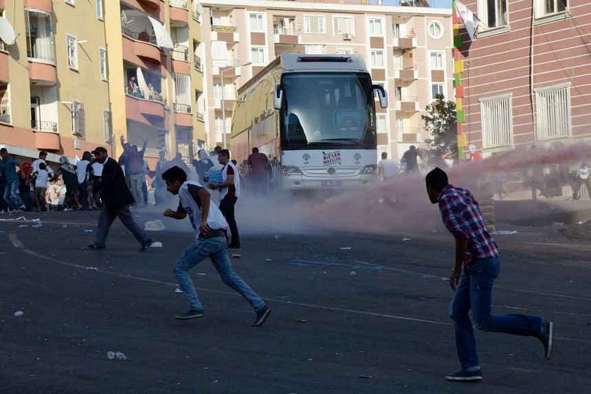 Turkish riot police use water cannon to disperse protesters on Aug 1, 2015. Ankara has launched an offensive against Kurdistan Workers Party (PKK) militants after a wave of attacks inside the country.