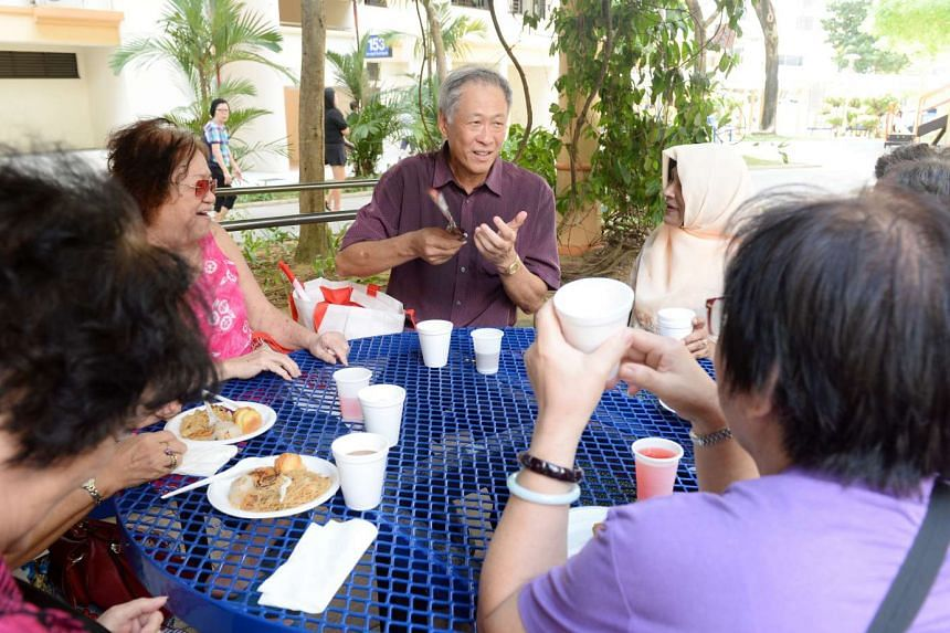 Ng Eng Hen mingling with residents in Toa Payoh.
