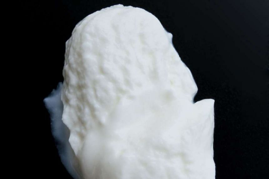 "Modern commercial Greek or ""Greek-style"" yogurt may be strained - like the one shown here - or thickened with additives."