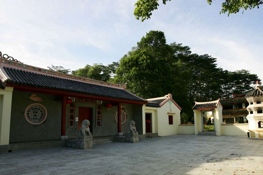 A refurbished temple (above) with a 100-year history and a columbarium are part of the Hakka community's new complex. PHOTO: LIANHE ZAOBAO