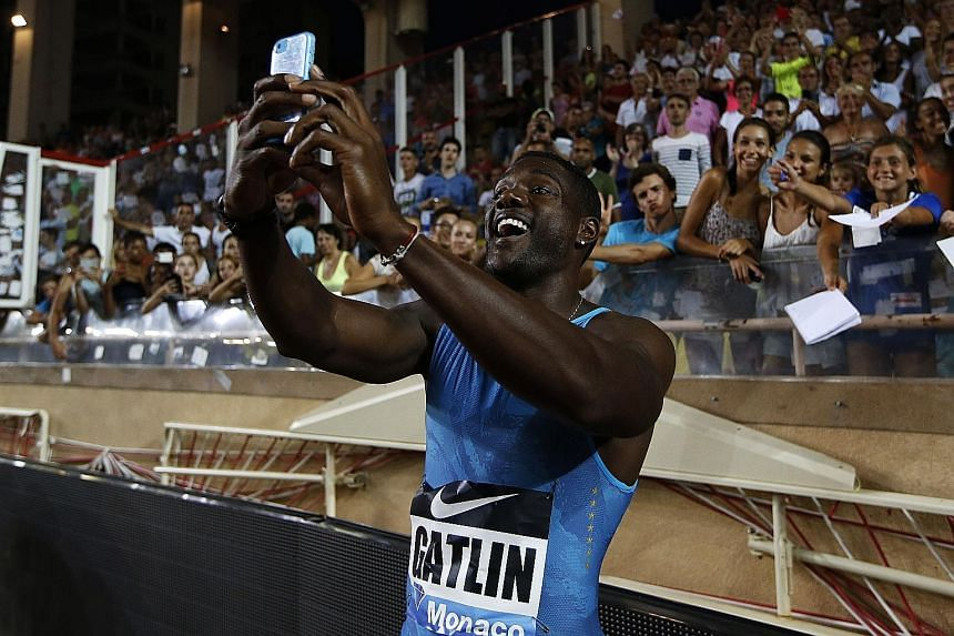 Olympic champions Usain Bolt (above left) from Jamaica and Mo Farah from Britain tested clean, but 10 golds handed out at the 2012 Olympics have been called into question. US sprinter Justin Gatlin after his 100m win at the IAAF Diamond League meet i
