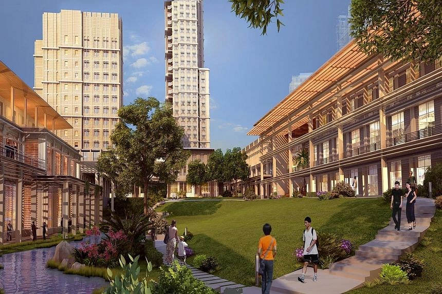 Artist's impression of Yale-NUS College in Dover Road, spread over 63,000 sq m. The Lee Kong Chian Natural History Museum's many rare specimens include fossils of diplodocid sauropod dinosaurs.