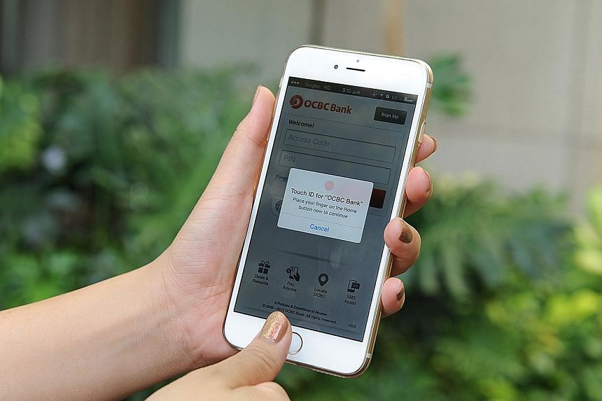 OCBC customers can use mobile devices with fingerprint sensors to get their latest bank-account details.