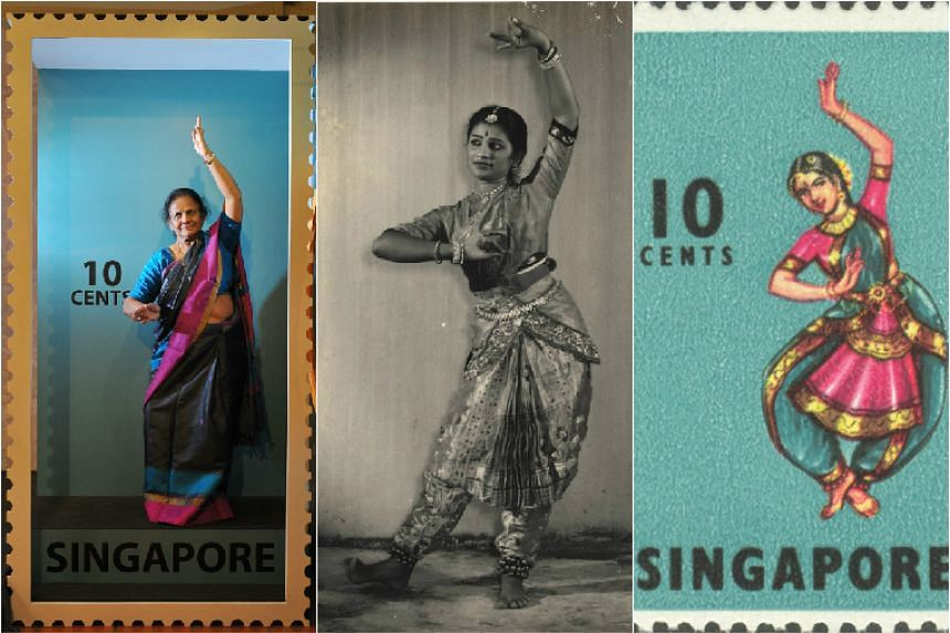 Mrs Santha Bhaskar (left) was the dancer featured in the original stamp (right). The photograph in the middle shows Mrs Bhaskar in the late 1950s.