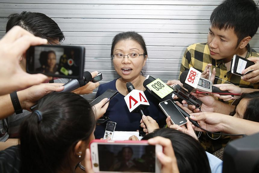 National Solidarity Party's Hazel Poa speaks to the media after a meeting at National Solidarity Party's headquarters on Aug 3, 2015.