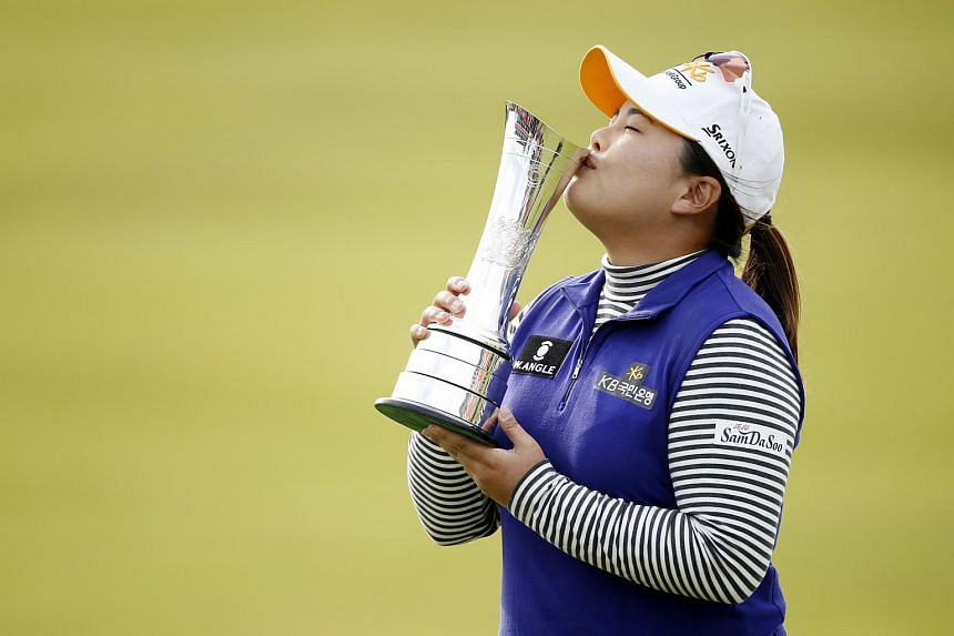 South Korea's Park In Bee kisses the trophy after winning the Women's British Open at the Trump Turnberry Resort, Scotland.