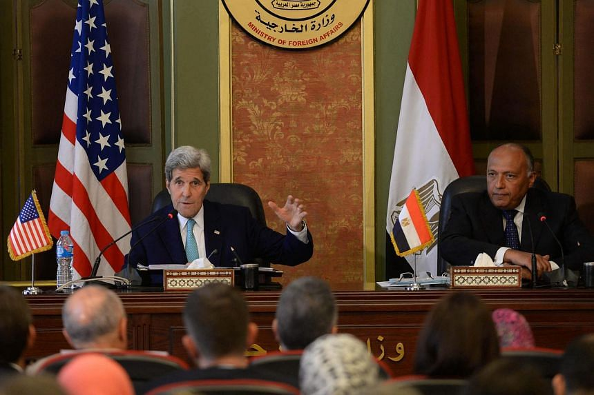 John Kerry (left) and his Egyptian counterpart Sameh Shoukry attend a joint news conference following their meeting in Cairo, Egypt on August 2, 2015.