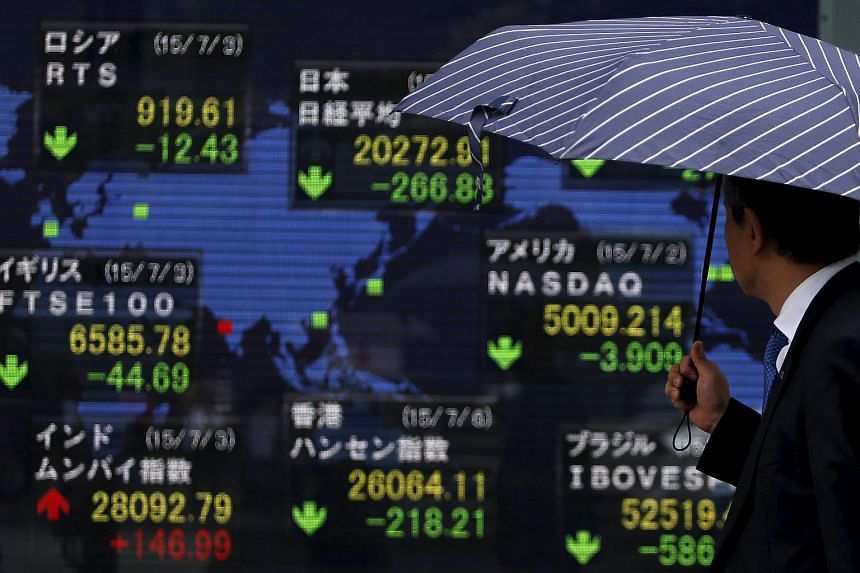 Asian shares took cues from a lower Wall Street and dipped early on Monday.