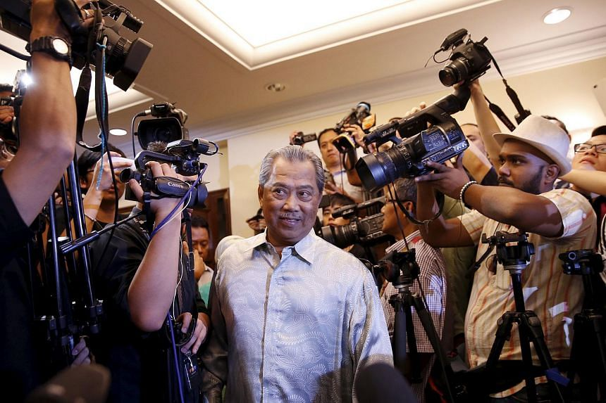Muhyiddin Yassin arrives to speak to the media after he was sacked during the cabinet reshuffle, in Kuala Lumpur, Malaysia.
