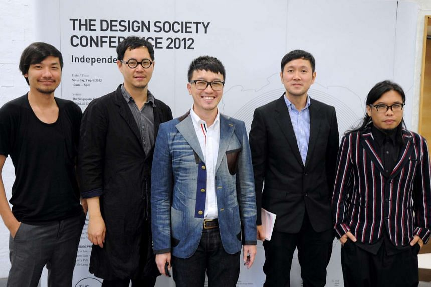 My life so far: Peh (centre) with some of The Design Society founding members (from left) Jackson Tan, Chris Lee, Hanson Ho and Pann Lim in 2012 and receiving the President's Design Award from President Tony Tan last year.