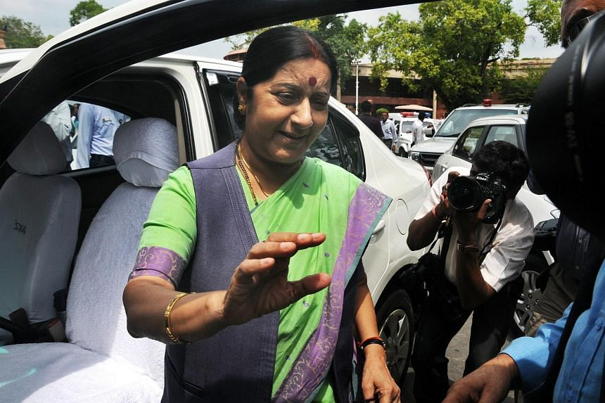 Indian Foreign Minister Sushma Swaraj arrives at the Parliament House building in New Delhi, on July 22, 2015.