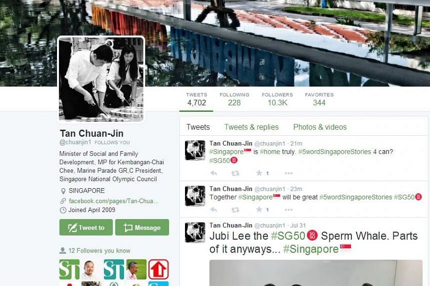 Minister for Social and Family Development Tan Chuan-Jin's Twitter page. Mr Tan tweeted twice with the hashtag #5WordSingaporeStories.