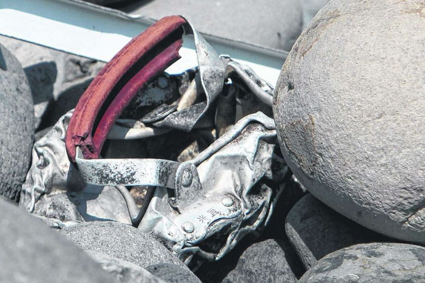 Metallic debris found on a beach in Saint-Denis on the French Reunion Island in the Indian Ocean.