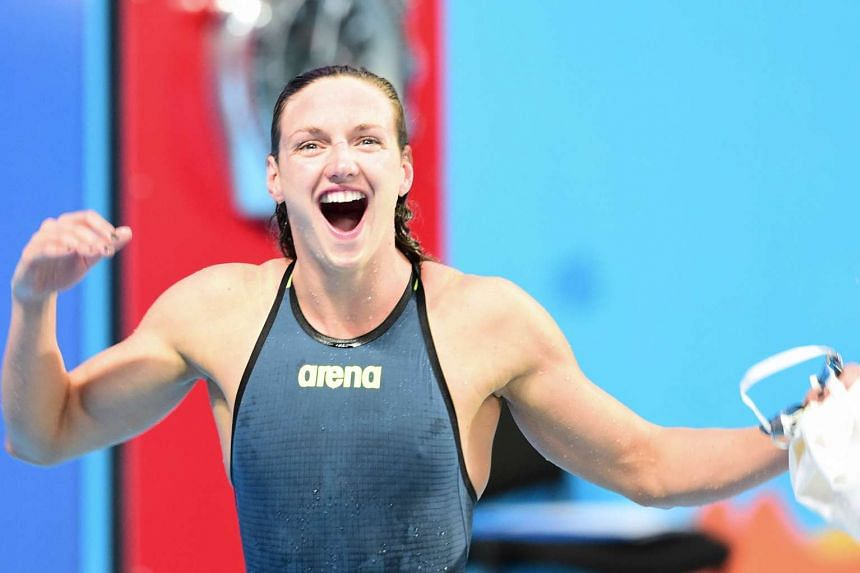 Hungary's Katinka Hosszu celebrates her victory at the end of the final of the women's 200m individual medley swimming event at the 2015 FINA World Championships in Kazan on Aug 3.