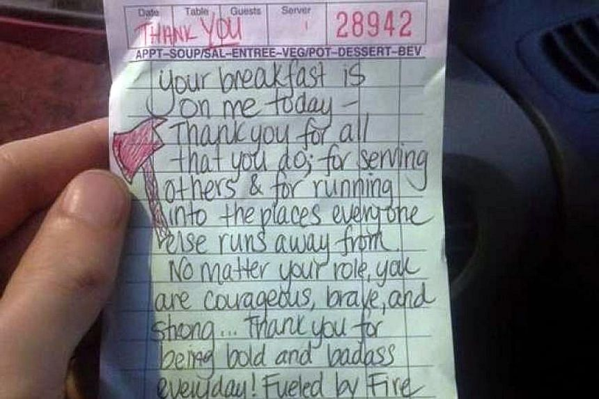 Ms Woodward's thank you note to the firemen, after she paid for their meal.