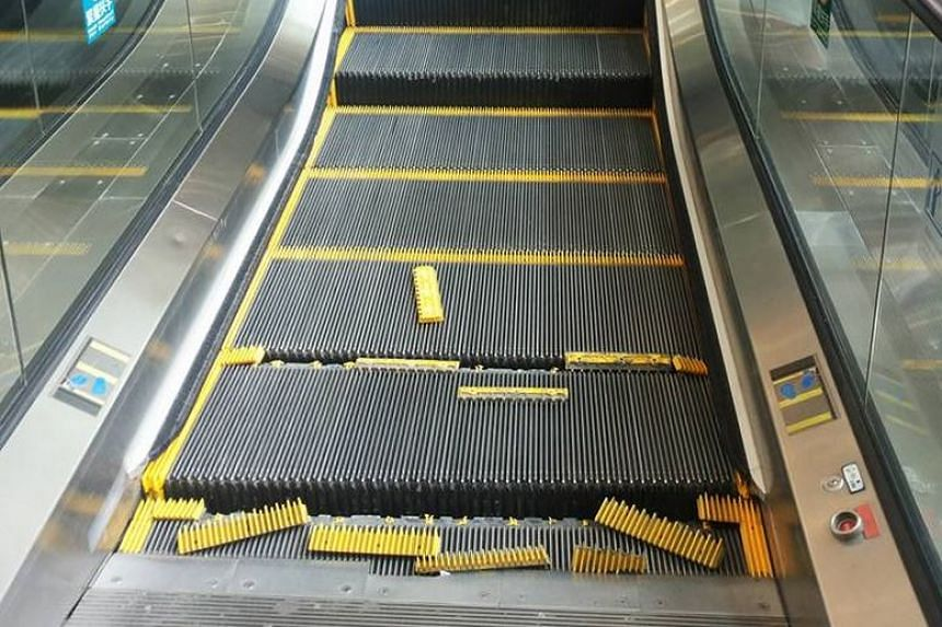 The damaged escalator in Hong Kong's Times Square.